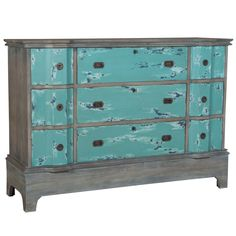 Love the contrast of gray and blue...great distressing! Water Reflections Cottage Chest - weathered blue-green and gray