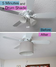 add a drum shade to a ceiling fan, bedroom ideas, diy, lighting, living room ideas, repurposing upcycling