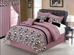 """7 Piece Cassandra Queen Liliac Floral Bedding Comforter Set by BEDnLINENS. $69.99. This 7 Piece Comfoter Sets features:. (1) Comforter 86""""x86""""  (2) Pillow Shams 26""""x26"""". (1) Bed skirt    (3) Coordinate Cushions. 100% Polyester , Machine Washable. Liliac flowers on lilac color,. This 7 piece bedding comforter set with  lilac flocking  flower on lilac ground is purple and lilac lovers favorite, perfect for teenager's bedroom."""