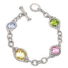 Judith Ripka Multi-Stone Link Bracelet in Sterling Silver NEW w/ TAGS MSRP $450 in Jewelry & Watches   eBay