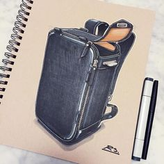 It took me a while but I finally found the perfect commuting backpack from a great Swiss company called Qwstion. Check them out at - Daily Good Pin Fashion Design Sketches, Sketch Design, Bag Design, Logo 3d, Fashion Words, Bag Illustration, Still Life Drawing, Industrial Design Sketch, Hand Sketch