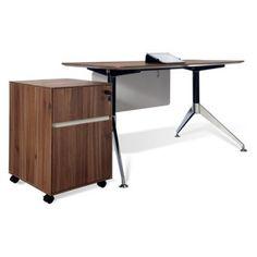 Jesper 300 Collection 55 in. Computer Desk with Mobile Pedestal - Walnut
