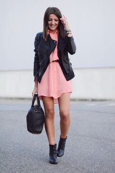 dress with black leather jacket