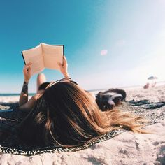 Reading on the beach.