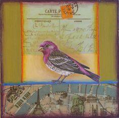 paris, antique map, bird, art, painting, vintage postcard, purple finch. www.rachelpaxton.com
