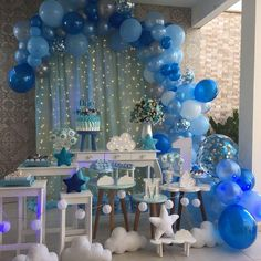 Genius space themed ideas for a baby shower or party! Shower Party, Baby Shower Parties, Baby Shower Themes, Baby Boy Shower, Baby Shower Decorations, Shower Ideas, Balloon Garland, Balloon Decorations, Birthday Party Decorations