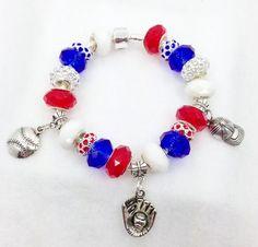 Baseball European style Charm Bracelet by Graceandliz on Etsy, $15.00