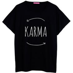 Karma Oversized T Shirt Boyfriend Womens Ladies Girl Fun Tee Top... ($22) ❤ liked on Polyvore featuring tops, t-shirts, shirts, tees, short sleeves, black, women's clothing, star wars tee, hipster t shirts and henley t shirt