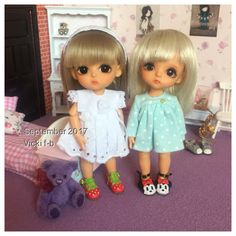 Lati yellow bjd...GBelle and SBelle  Dresses and teddy bear by me (Baggaley bears)