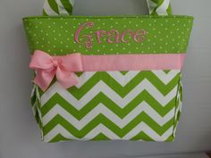 Standard Size Diaper Bag    Chartreuse Chevron .. ..Dots on Top ... PINK accents…