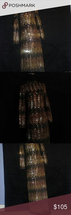 """Vintage 70s Disco Diva Sequin Maxi Dress Vintage 70s Disco Diva Sequin Maxi Dress Zig Zag Gold..Bronze and Black Sequin over Gold and Black Lame. Does have Some Stretch. Long Back Zipper Mock Collar Left Side Bottom Split is 18"""" Vintage Union Label. These are Exact Measurements... Bust:32"""" 34"""" Length: 60"""" Sleeves: 24.5"""" Waist: 28"""" Hips: 34"""" Shoulders: 14"""" Fits Size 4 One Stunning Bad Azzz Dress ! Vintage Dresses Maxi"""
