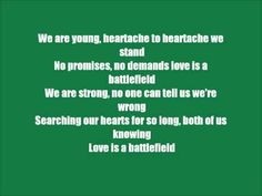 """""""Love is a Battlefield"""" by: Pat Benatar *Lyric Video* : #Love is not the battlefield ,lack of friendship, compassion,common ground, trust and respect lay the foundation for a battlefield. #ChooseYourPartnerWisely #GrowthHeals"""