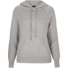 TOPSHOP Knitted Hoody ($45) ❤ liked on Polyvore featuring tops, hoodies, sweaters, topshop, jumpers, grey marl, grey top, topshop tops and gray top