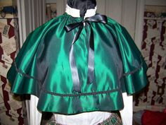 Ladies Civil War Cape Hunter Green taffeta and Black Satin and Braid Handmade by AdoriesDesigns, $64.99 USD
