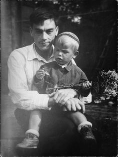 Poet Arseny Tarkovsky with his son Andrei, 1930s