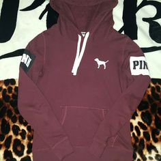 Vs Pink Maroon Hoodie Great Condition Priced High For Trades PINK Victoria's Secret Tops Sweatshirts & Hoodies