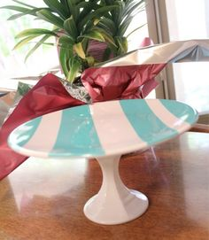 DIY cake stand...wish I'd found this before our wedding!