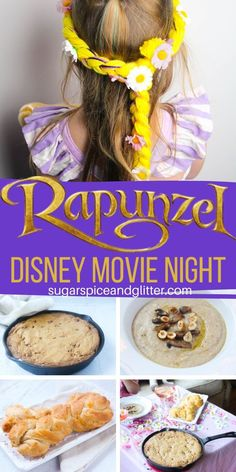 The perfect family movie night for Tangled/Rapunzel: themed menu, crafts, decor ideas and a free printable planner. An awesome family tradition everyone will love Rapunzel Movie, Tangled Movie, Tangled Rapunzel, Disney Dishes, Disney Food, Disney Themed Food, Disneyland Food, Disney Recipes, Disney Ideas