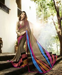 Brown Georgette Printed Saree
