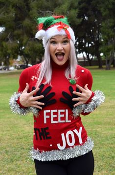 Feel the Joy Ugly Christmas Sweater -   DIY or buy now in Red, Grey, Purple or black at staticthreads.com