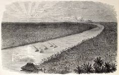 Brazilian Warships in Paraguay river near Humaitá where one of the most importants battles during Paraguay War happned. Illustratation of a French publication in 1866.