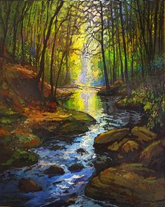 Your place to buy and sell all things handmade Rushing Stream - Giclee Fine Art PRINT of Original Painting matted by Jan Schmuckal Landscape Art, Landscape Paintings, Tree Art, Painting Techniques, Fine Art Prints, Original Paintings, Beautiful Places, Scenery, Photos