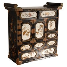 1stdibs | 19th c. Japanese Lacquered Cabinet with Ivory Panels