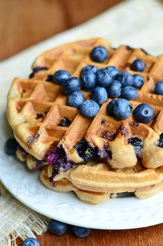 Whole Wheat Blueberry Vanilla Waffles 1 willcookforsmiles.com