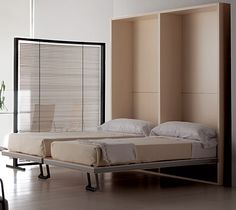 La Literal from Resource Furniture- awesome space saver- a verticle, double bed system. Fun! :)