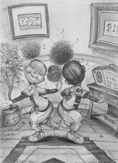 """The Boogie Beat"" by Frank Morrison Black Girl Art, Black Women Art, Black Man, Black Kids, Frank Morrison Art, Painting Templates, African American Artist, Brown Art, Black Artwork"