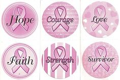"""Lot of 6 Differant 1 5"""" Breast Cancer Awareness Pink Ribbon Stickers New   eBay"""