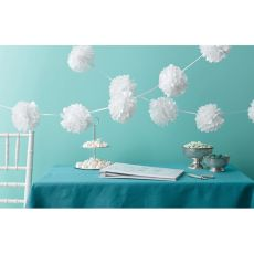 Our White Pom Pom Garland has the elegant look of white tissue pom poms. This pom pom tissue garland is made of paper and contains two pre strung 6 ft long garlands. Tissue Paper Garlands, Tissue Pom Poms, Paper Bunting, Tissue Flowers, Pom Pom Garland, Tissue Balls, Paper Poms, Wedding Pom Poms, Garland Wedding