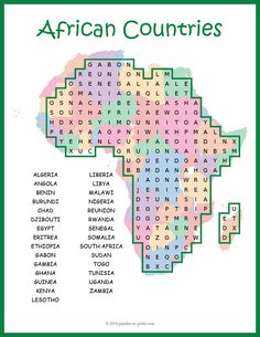 A word search puzzle featuring the names of 29 African countries. Students will reinforce their knowledge and review geography while having fun doing a puzzle. The words are hidden in all directions including diagonally and backwards and there may be some overlap. This is a somewhat challenging word find.