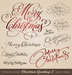 Christmas hand lettering set 2 (vector) $4.00