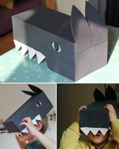 make a wolf from cardboard box// Projects For Kids, Diy For Kids, Crafts For Kids, Wolf Craft, Cardboard Costume, Crafts With Pictures, Diy Papier, Three Little Pigs, Animal Crafts