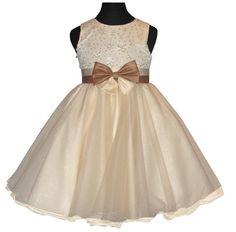 """Φορέματα για Παρανυφάκια - Επίσημα Φορέματα για Κορίτσια :: Παμέμορφο Σατέν Φόρεμα σε Ιβουάρ - Κρέμ και Καραμέλα - Χρυσαφί Φιόγκο για Παρανυφάκι, Πάρτι, βάφτιση """"Fiona"""" - http://www.memoirs.gr/"""