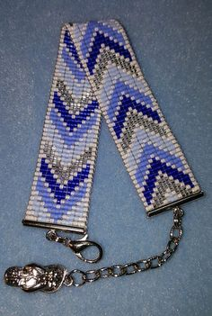 Blue and silver chevron bracelet by MoonriseCreations on Etsy