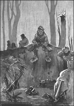 Bruce Bairnsfather - A Hopeless Dawn - 1916 Propaganda Art, Illustrators, Comic Art, Caricature, Drawings, Art, Cartoon, Book Design, War Art