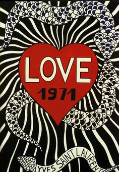 """Yves Saint Laurent's made a """"LOVE"""" drawing year by year. This one's from 1971 