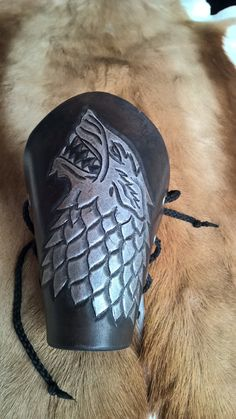 Game of Thrones Stark Direwolf Leather Bracers by KandRArmory on Etsy