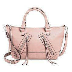 Sam & Libby Women's Faux Leather Satchel Handbag with Zippers Handbag - Pink Mauve