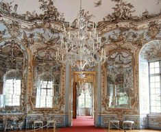 Amalienburg in the Garden of Nymphenburg Palace in Munich: hall of mirrors
