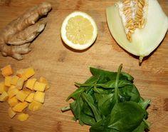 Spinazie, meloen, gember smoothie (suikervrij)