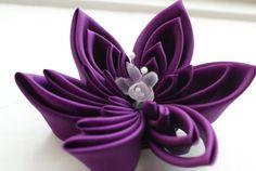 Violet Fascinator Silk Kanzashi Flower by cuttlefishlove on Etsy, £40.00