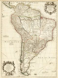 #Old #Map South America Brasil Venezuela Peru Argentina Chile…