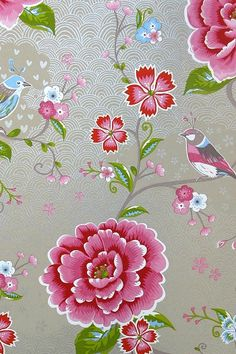 Buy PiP Studio Birds In Paradise Wallpaper, Pink Paradise Wallpaper, Pink Wallpaper, Pip Studio, Cherry Blossom Wallpaper, Deco Boheme, Textile Prints, Chinoiserie, Decoration, Pink Flowers