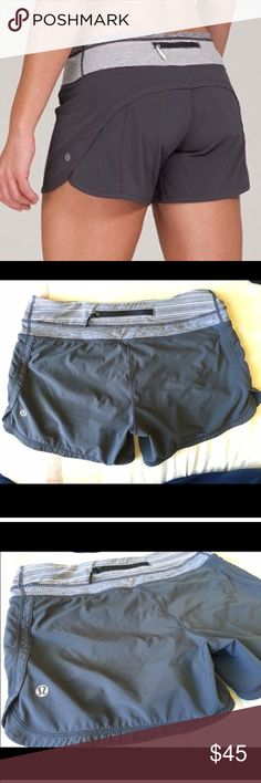Grey Lululemon Speed Short Size 6 Good used condition. Inside tag is cut off. Not sure if I want to sell. lululemon athletica Shorts