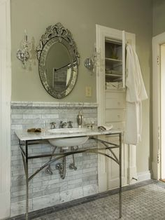 Carrera Marble Basket Weave Subway Tile Design, Pictures, Remodel, Decor and Ideas. I love the subway edging on the floor! Great sink!