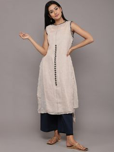 Ecru Linen High Low Tunic with Slip - Set of 2