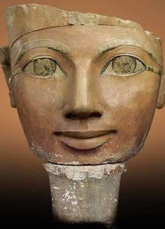 Head of Hatshepsut from a colossal statue, limestone and pigment, New Kingdom, dyn. 18, from Deir el Bahri, Egyptian Museum.